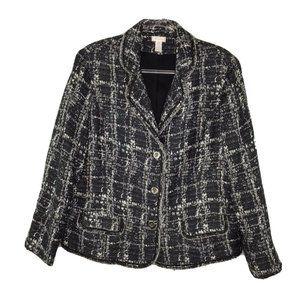 Chicos Woven Blazer 3 XL Black